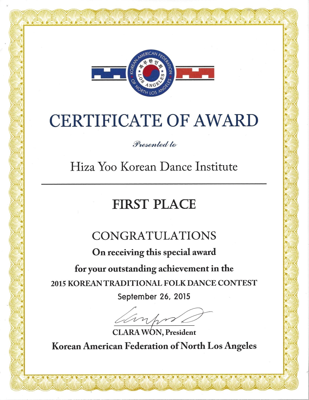 2015 1st Place KAFNL Hiza Yoo Korean Dance Institute 2015 1st Place KAFNL  ?attachment Idu003d1888. First Place Certificate First Place Certificate  First Place Certificate