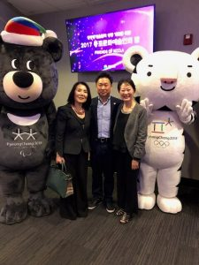 2017 LA한국 문화원의 동포 문화 예술인의 밤 - Suk Wesski, left, Noh, Seung Hwan & Hiza Yoo (2018 평창 동계 올림픽 마스코트와 함께)-2